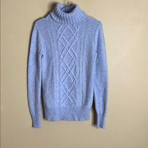 J crew blue cowl neck sweater